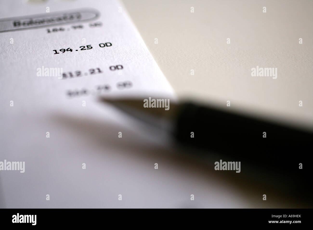 Close up of overdrawn UK bank statement - Stock Image