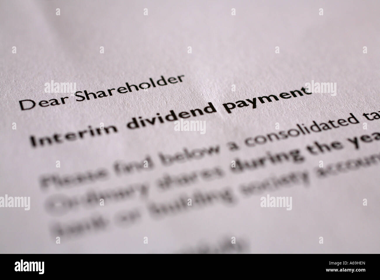 Letter from chief executive to Bradford and Bingley shareholders, 2007 - Stock Image