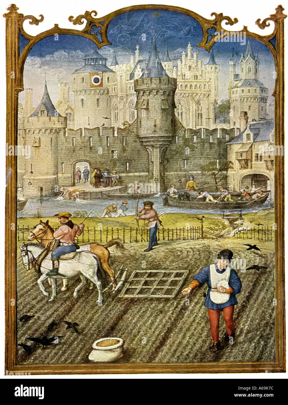 Peasants sowing and cultivating fields outside a walled town in the Middle Ages. Color halftone - Stock Image