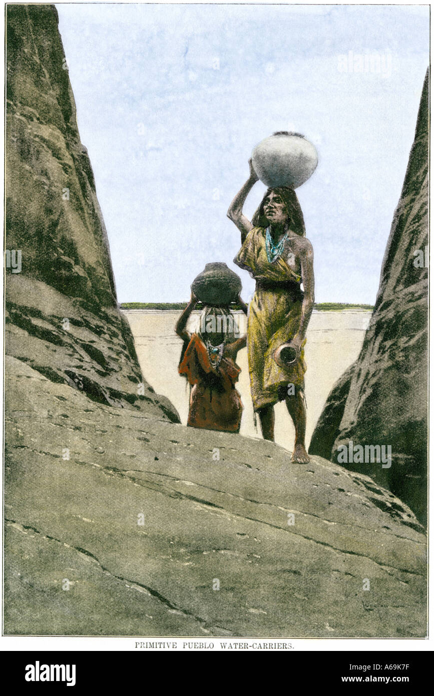 Ancestral Puebloan Anasazi women carrying water in pots up to a mesa top. Hand-colored halftone of an illustration - Stock Image