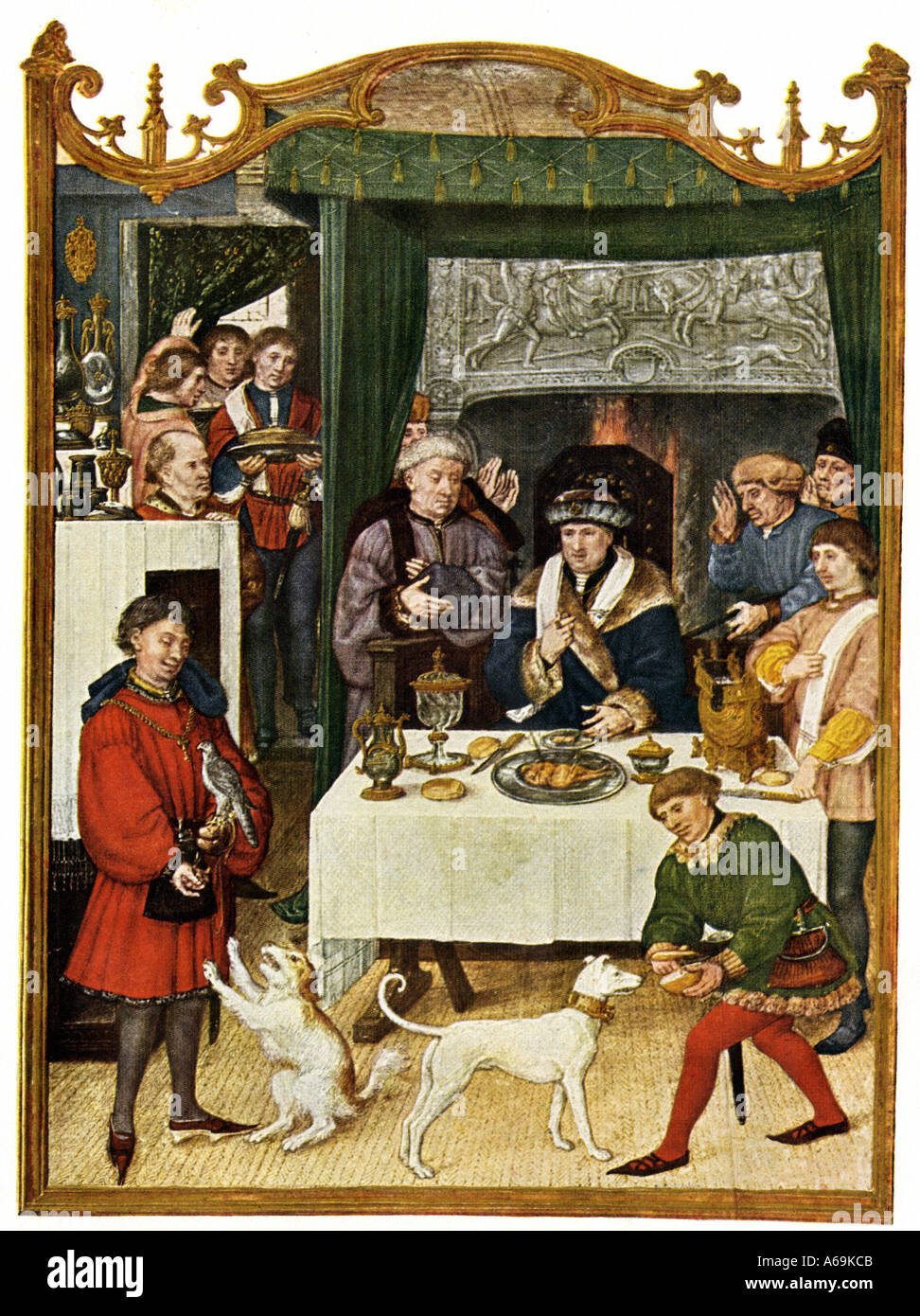 Wealthy family dinner table in the Middle Ages. Color halftone - Stock Image