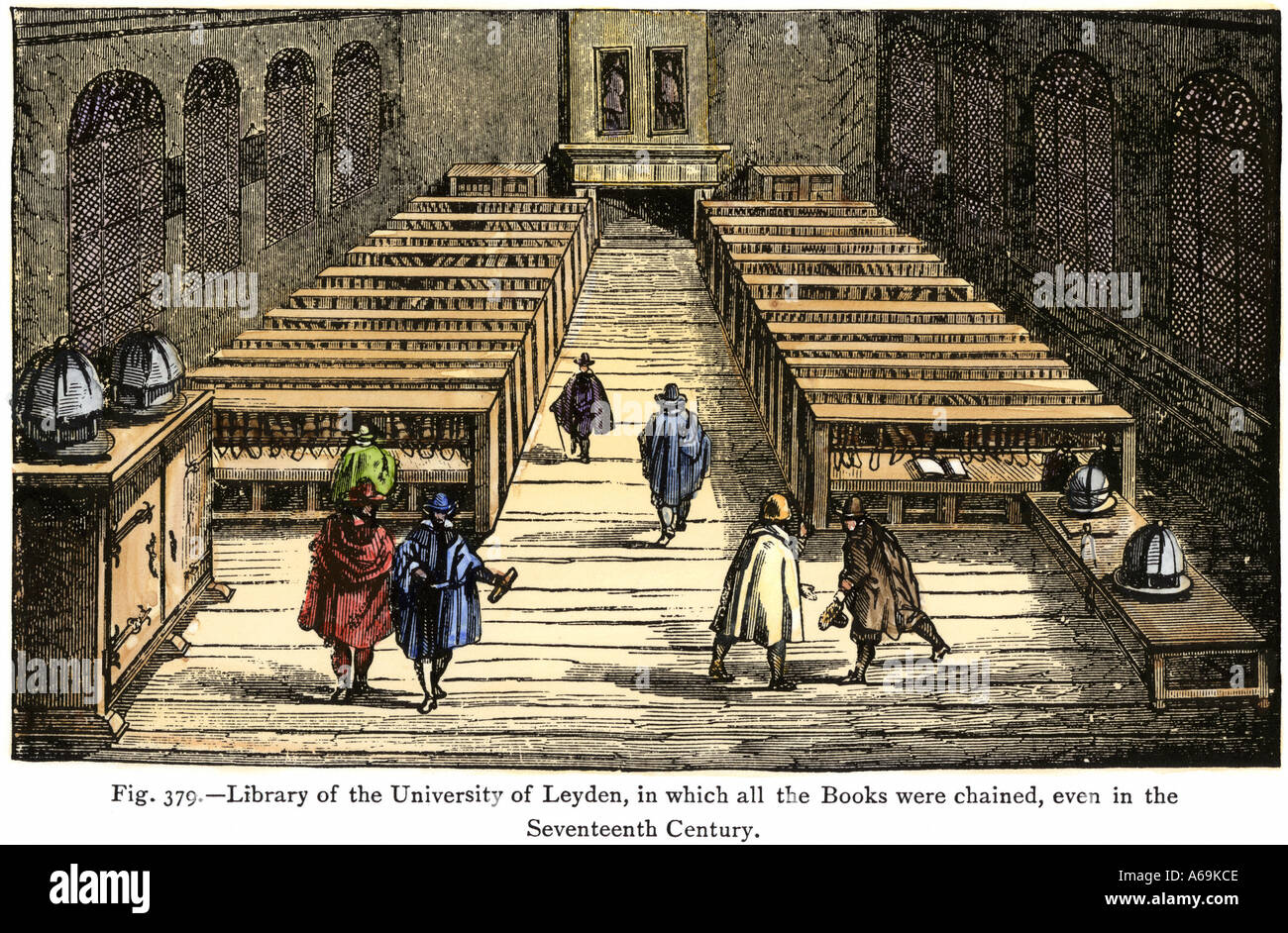 University of Leyden library in which all the books were chained until into the 1600s. Hand-colored woodcut - Stock Image