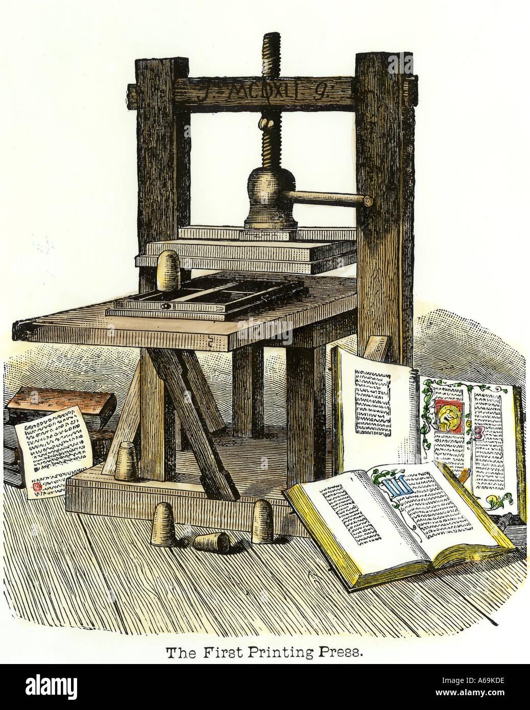 Johann Gutenberg s printing press Mainz Germany 1450s. Hand-colored woodcut - Stock Image