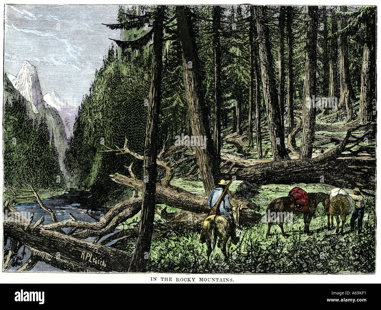 Pack train of fur traders in the Rocky Mountains 1800s. Hand-colored woodcut - Stock Image