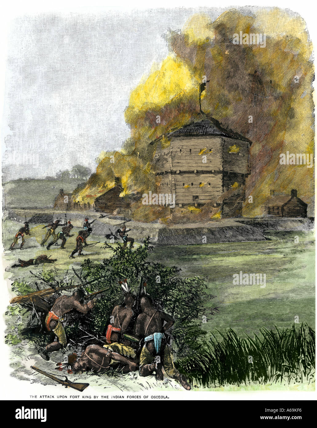 Attack on Fort King by Native Americans under Osceola during the Seminole Wars 1835. Hand-colored woodcut - Stock Image