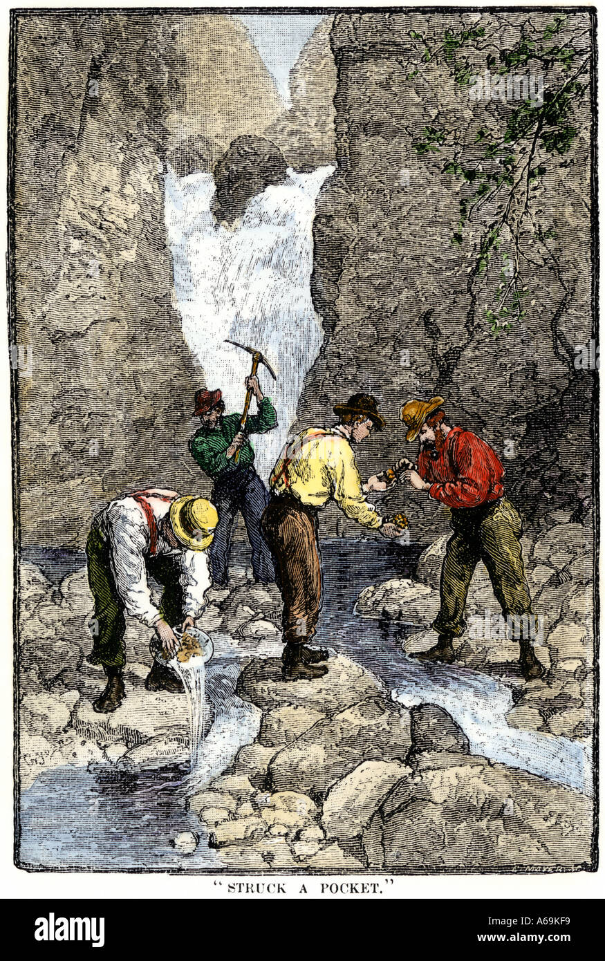 Prospectors finding gold in a Georgia stream 1800s. Hand-colored woodcut - Stock Image