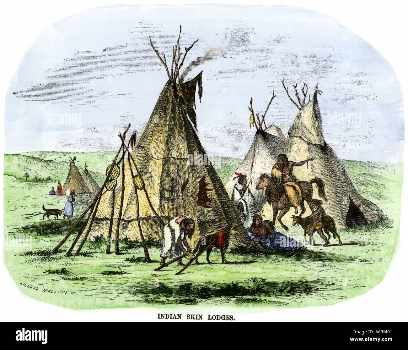 Native American buffalo-skin tepees Great Plains 1800s. Hand-colored woodcut - Stock Image