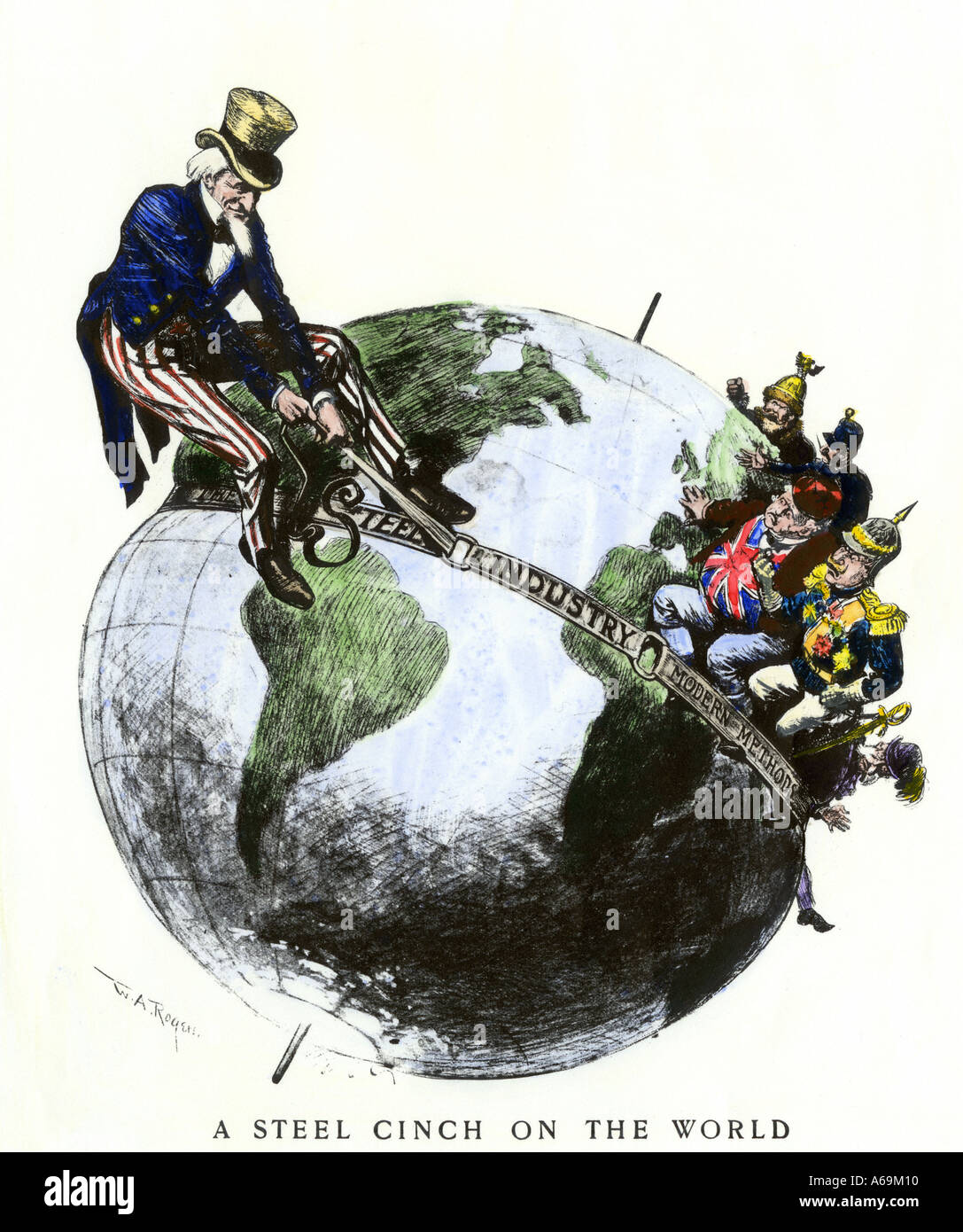 Uncle Sam applying a steel cinch on the globe cartoon symbolizing dominance of American steel industry 1901. Hand-colored woodcut - Stock Image