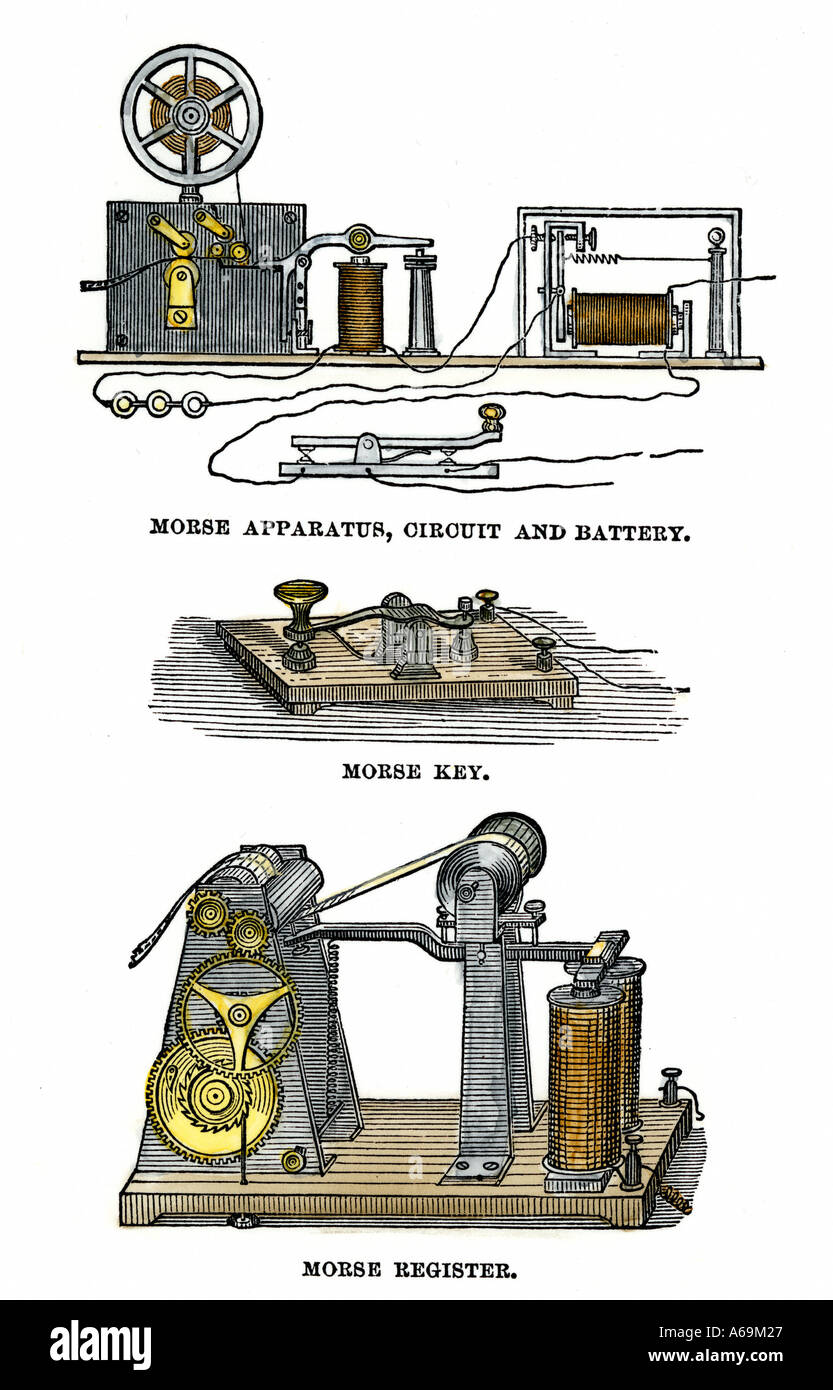 Diagrams of Morse telegraph apparatus key and register. Hand-colored woodcut - Stock Image
