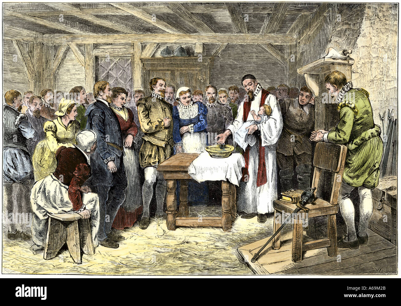 Baptism of Virginia Dare first English child born in the New World Roanoke Colony 1587. Hand-colored woodcut - Stock Image