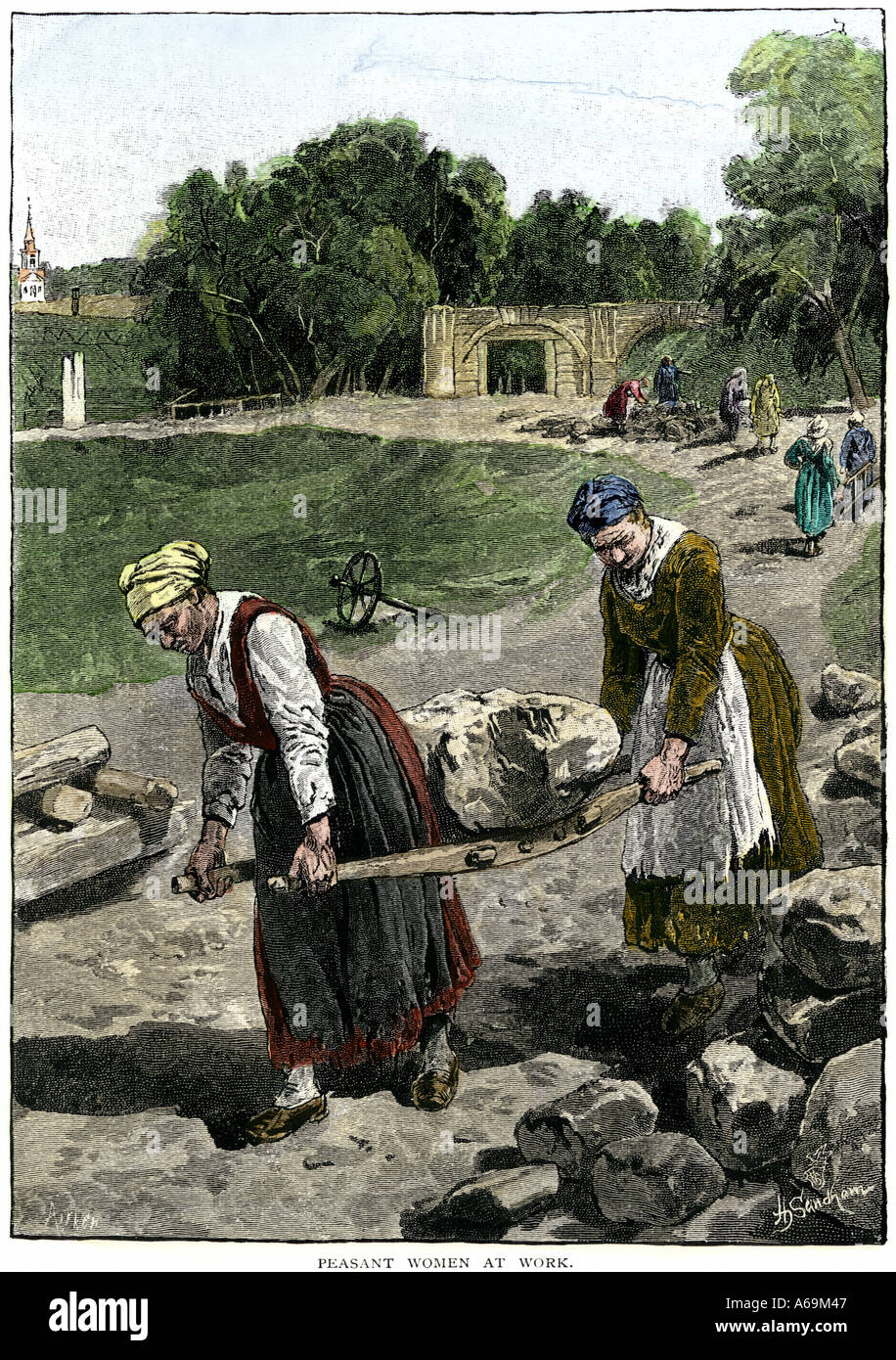 Russian peasant women at work carrying large stones on a litter 1800s. Hand-colored woodcut - Stock Image