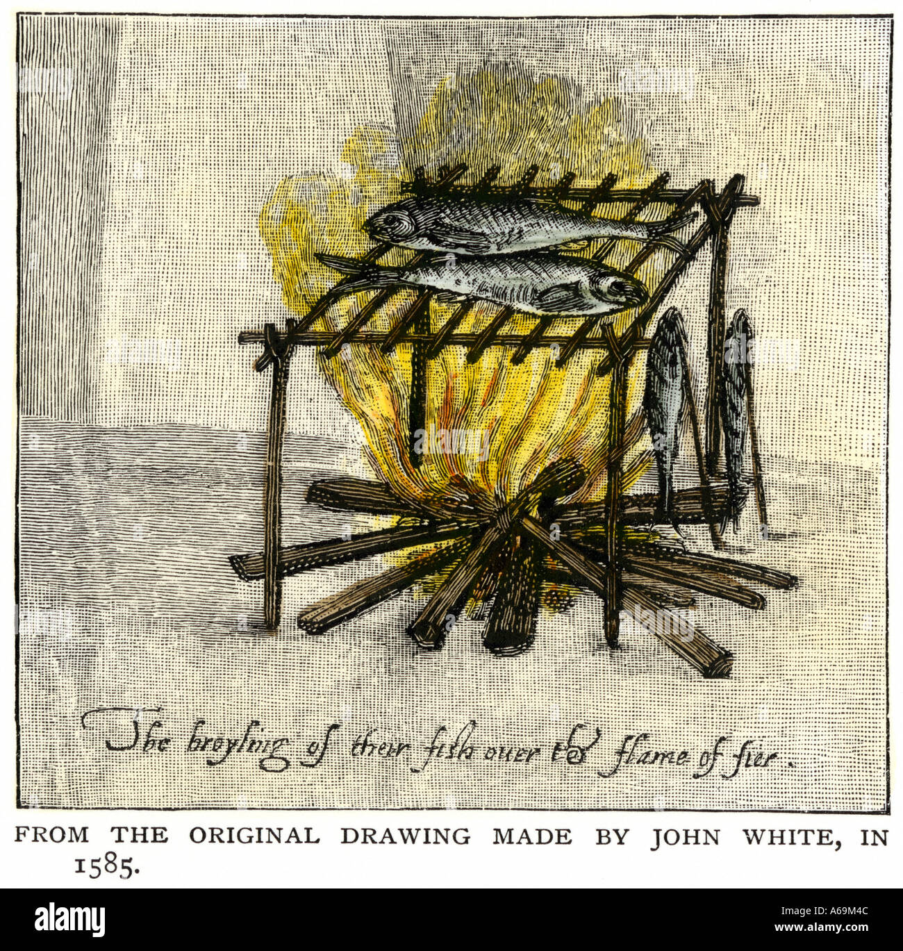 Native American way of cooking fish Roanoke Island Virginia Colony 1585. Hand-colored woodcut of a John White illustration - Stock Image