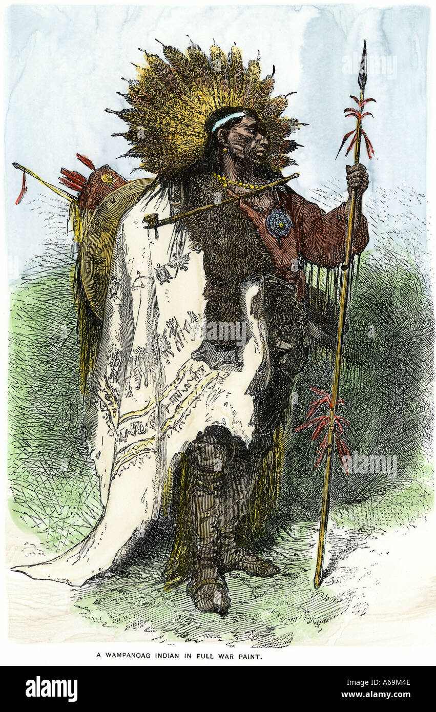 Wampanoag warrior in traditional attire Massachusetts. Hand-colored woodcut - Stock Image