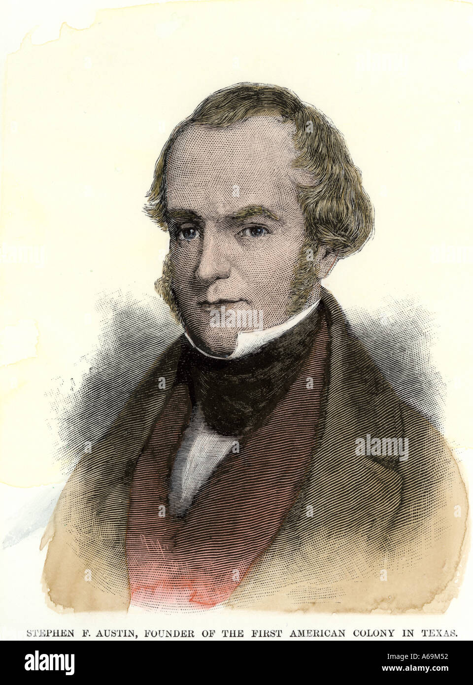 Stephen Fuller Austin American colonizer of Texas. Hand-colored woodcut - Stock Image