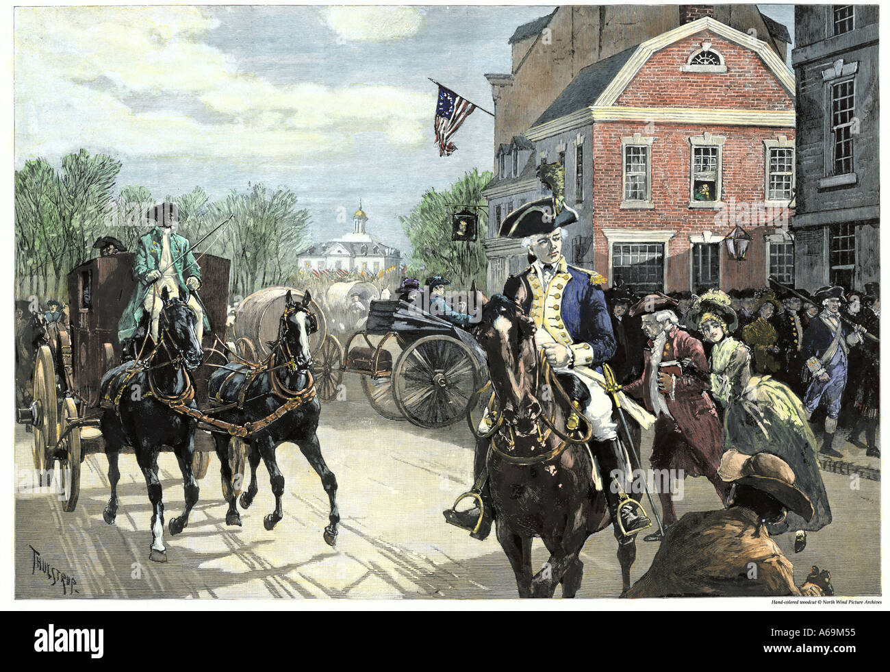 Busy New York City the day of George Washington inauguration at Federal Hall on Wall Street 1789. Hand-colored woodcut - Stock Image