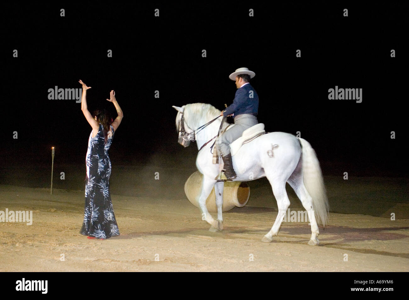Choreography with a flamenco dancer and a horse, Spain - Stock Image
