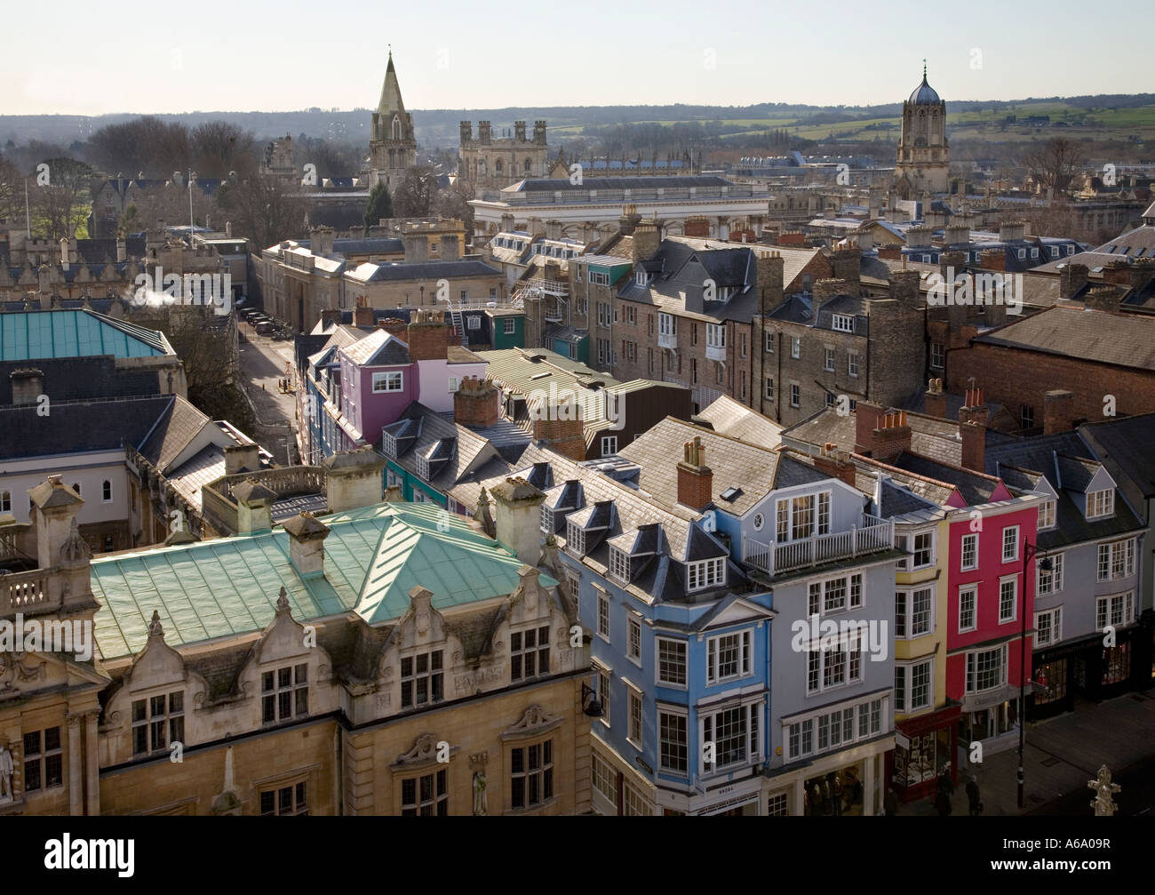 Looking South from St Mary the Virgin, to Corpus Christi College and the Tom Tower on the right. Oxford, England, - Stock Image