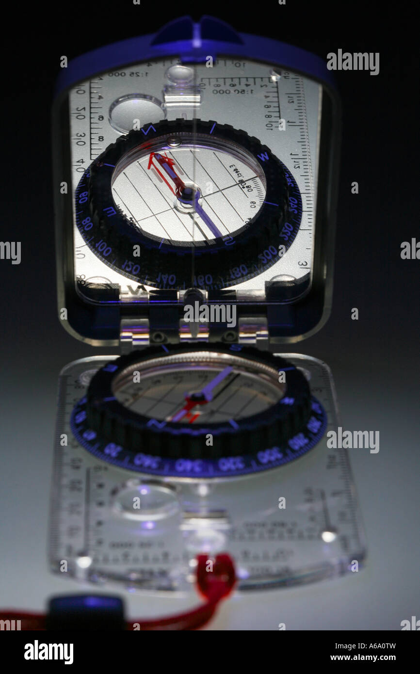 Silva sighting compass used for navigation finding a direction - Stock Image