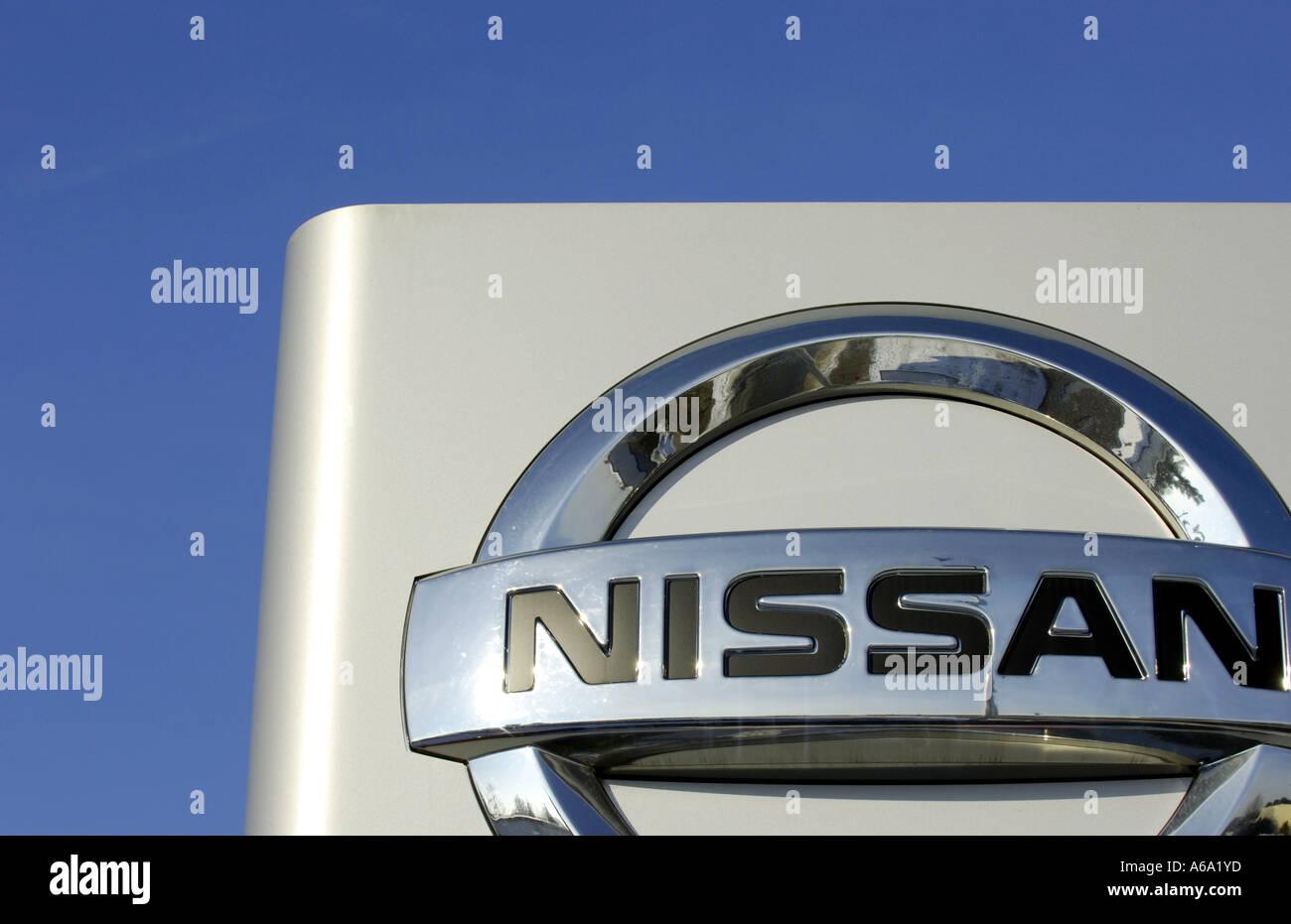 nissan japan japanese car manufacturer company asian asia sign Stock