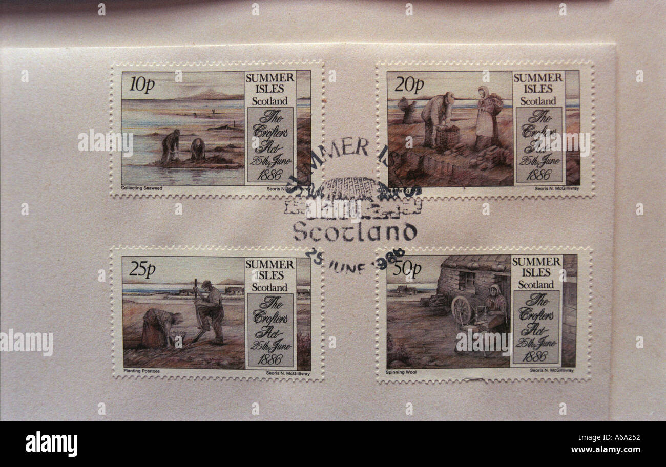 Summer Isles Postal service with its own stamps Wester Ross Scotland UK Boat takes mail to mainland - Stock Image