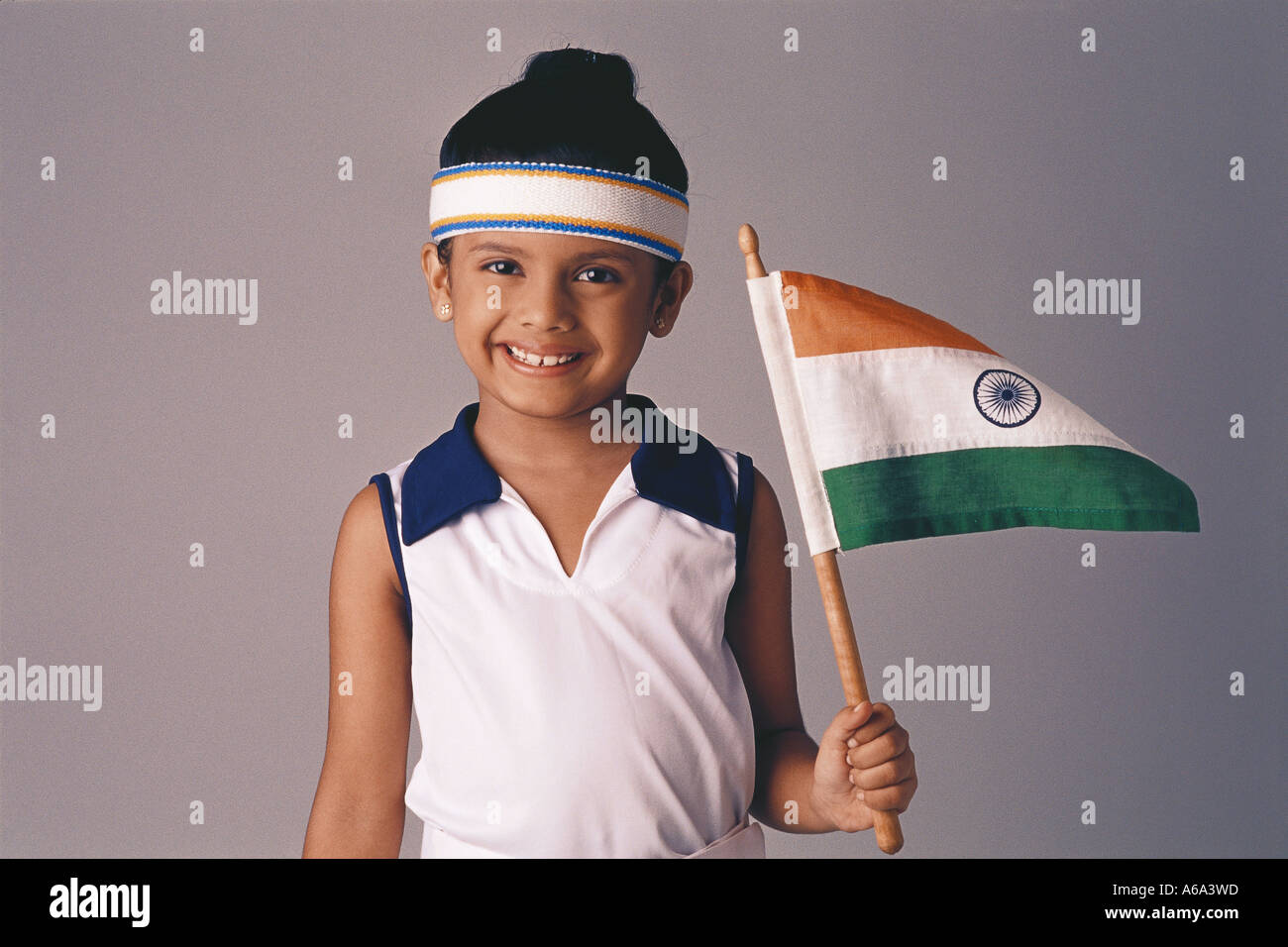 663ca57254 Indian child Tennis Player Girl fancy dress Holding The Indian Flag MR#500