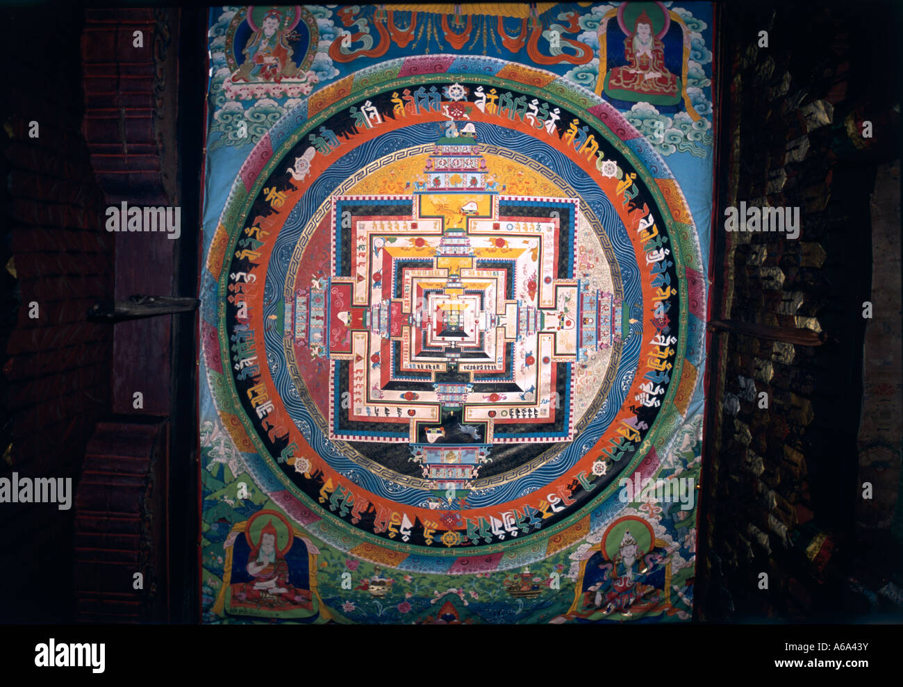 China, Tibet, Tibetan mandala, a ritual tantric diagram - Stock Image