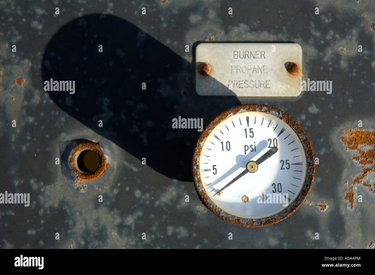 Detail of the control panel for a tank car at a railyard; full description below. - Stock Image