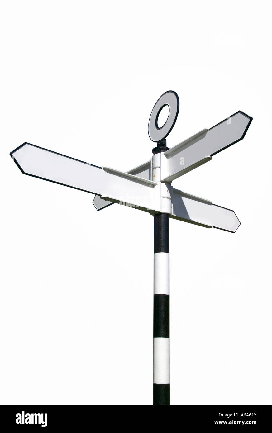 Traditional English village signpost blank for your own text - Stock Image