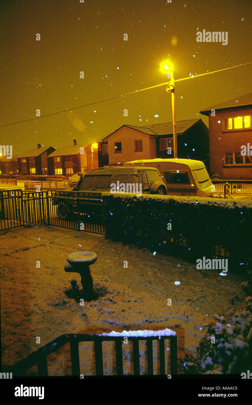 Snowing in Glasgow Stock Photo