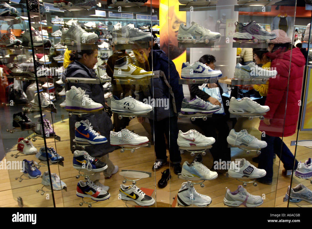 98fd9ae0f8 Nike shoes for sell in a store in Beijing China Dec 25 2005 - Stock Image