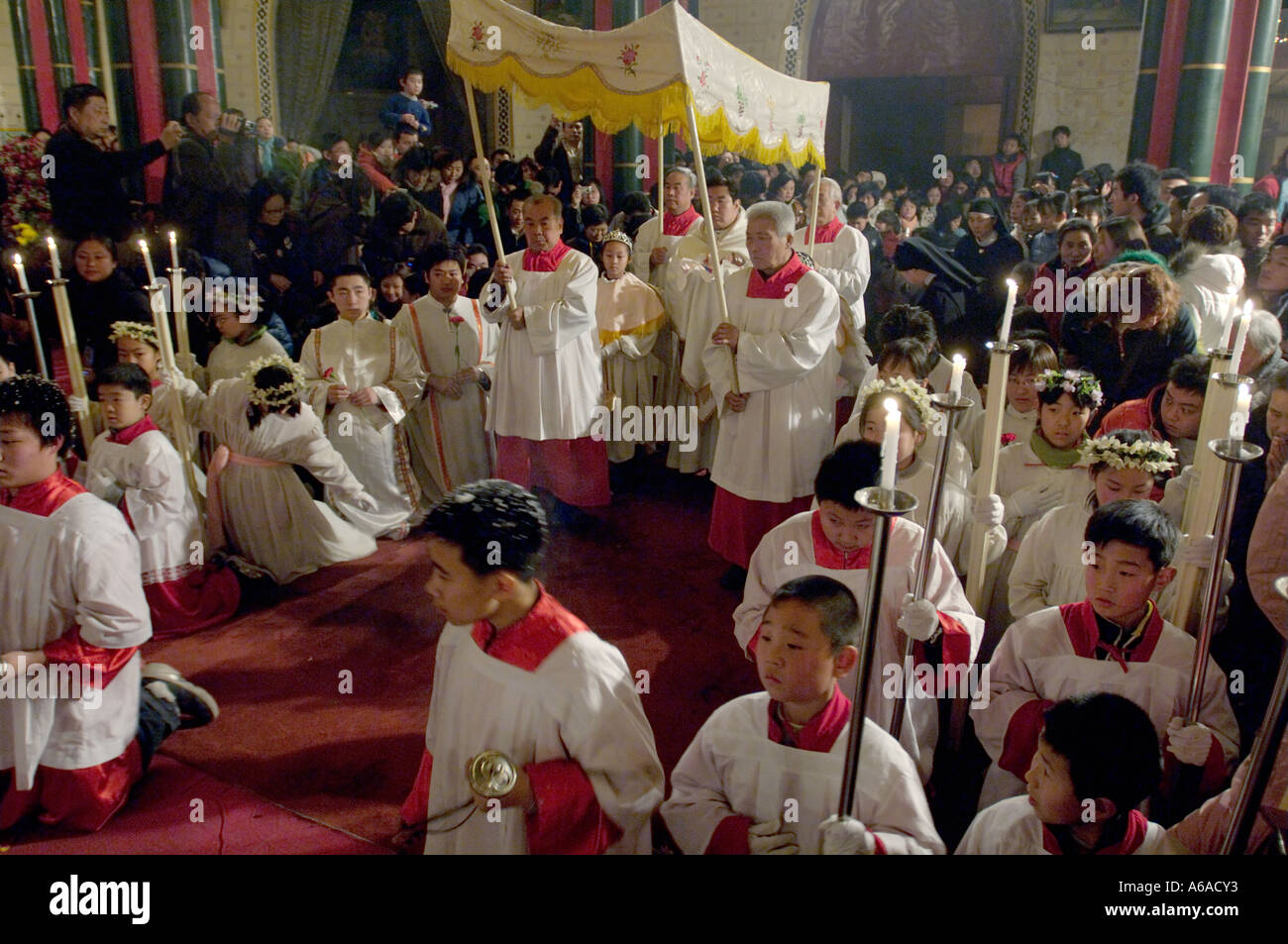 christmas mass at north cathedral xishiku in beijing china stock image - Do Catholics Celebrate Christmas