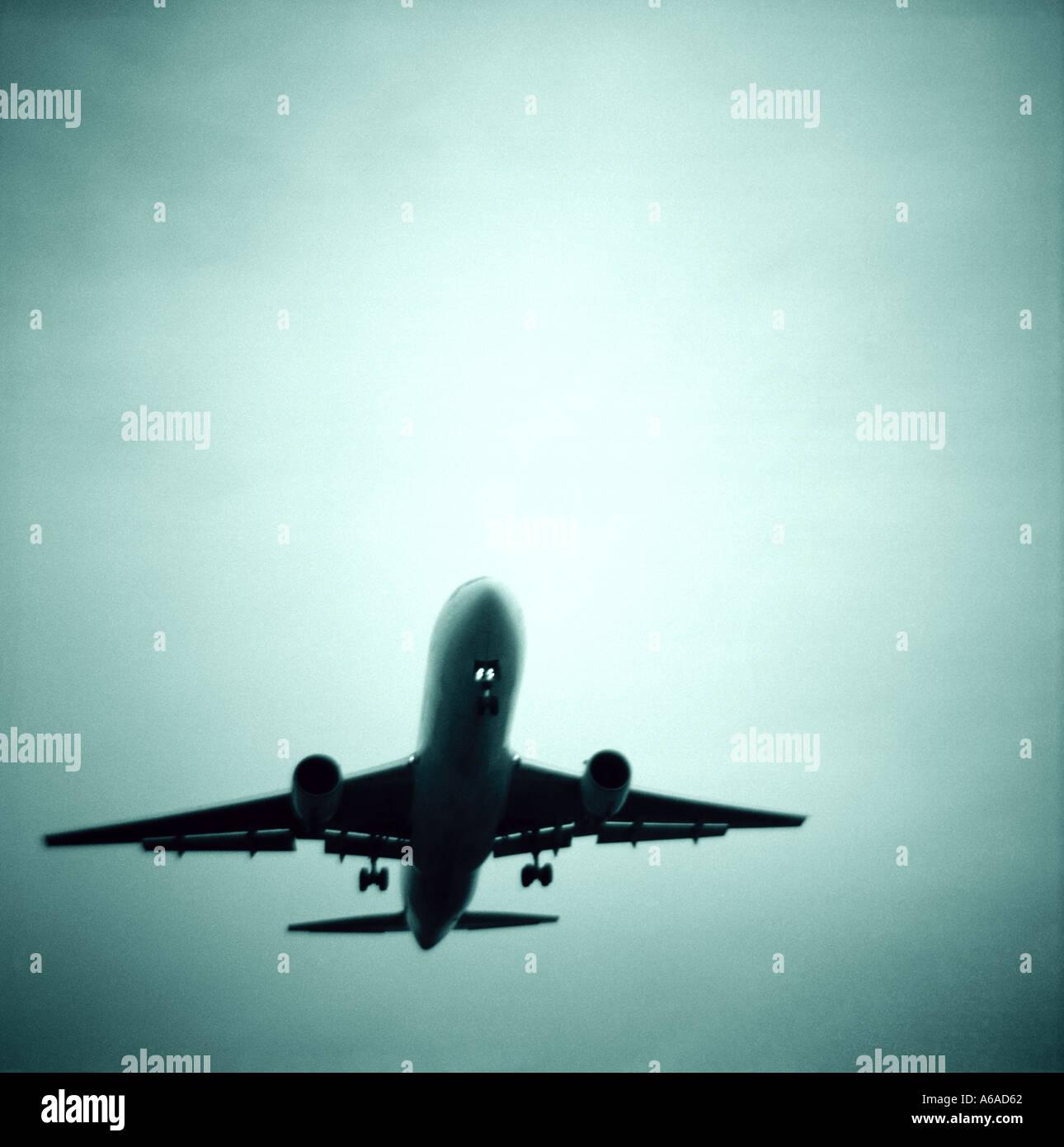 Passenger Jet On Landing Approach - Stock Image