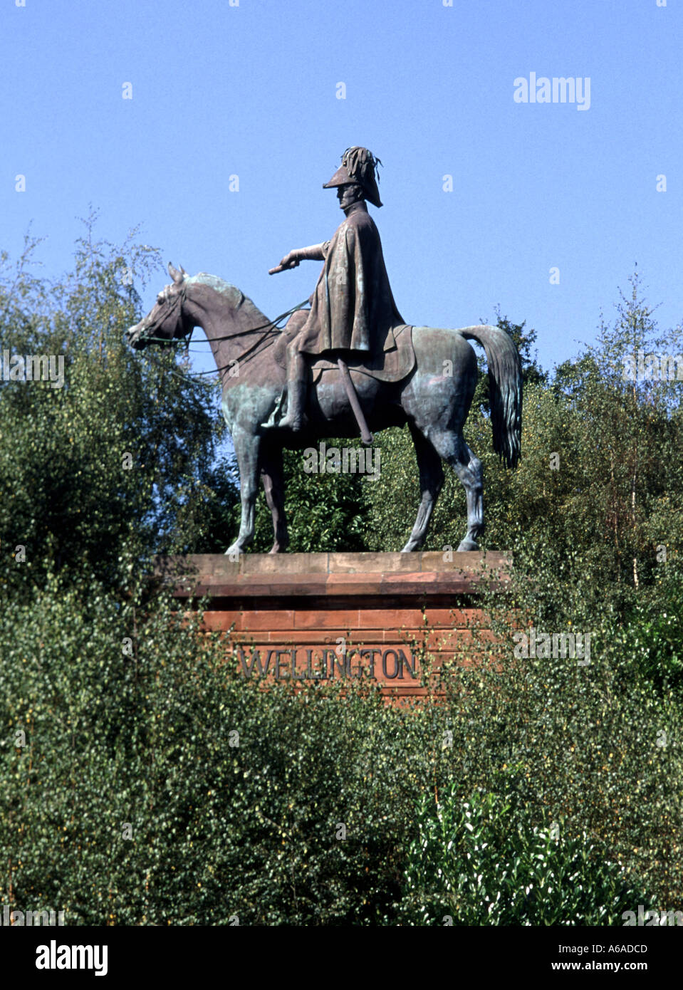 Aldershot Hampshire England UK Statue of the first Duke of Wellington mounted on his horse Round Hill - Stock Image