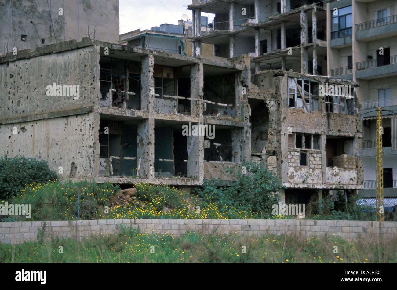 Lebanon Beirut War ruins - Stock Image