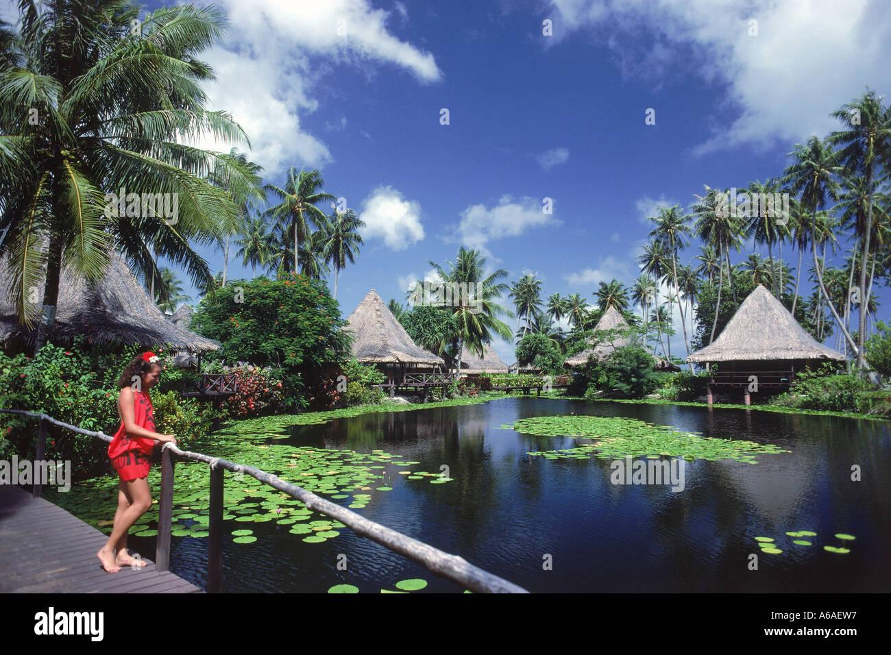 Where Is Bali Hai Island woman in red sarong at hotel bali hai on huahine island in