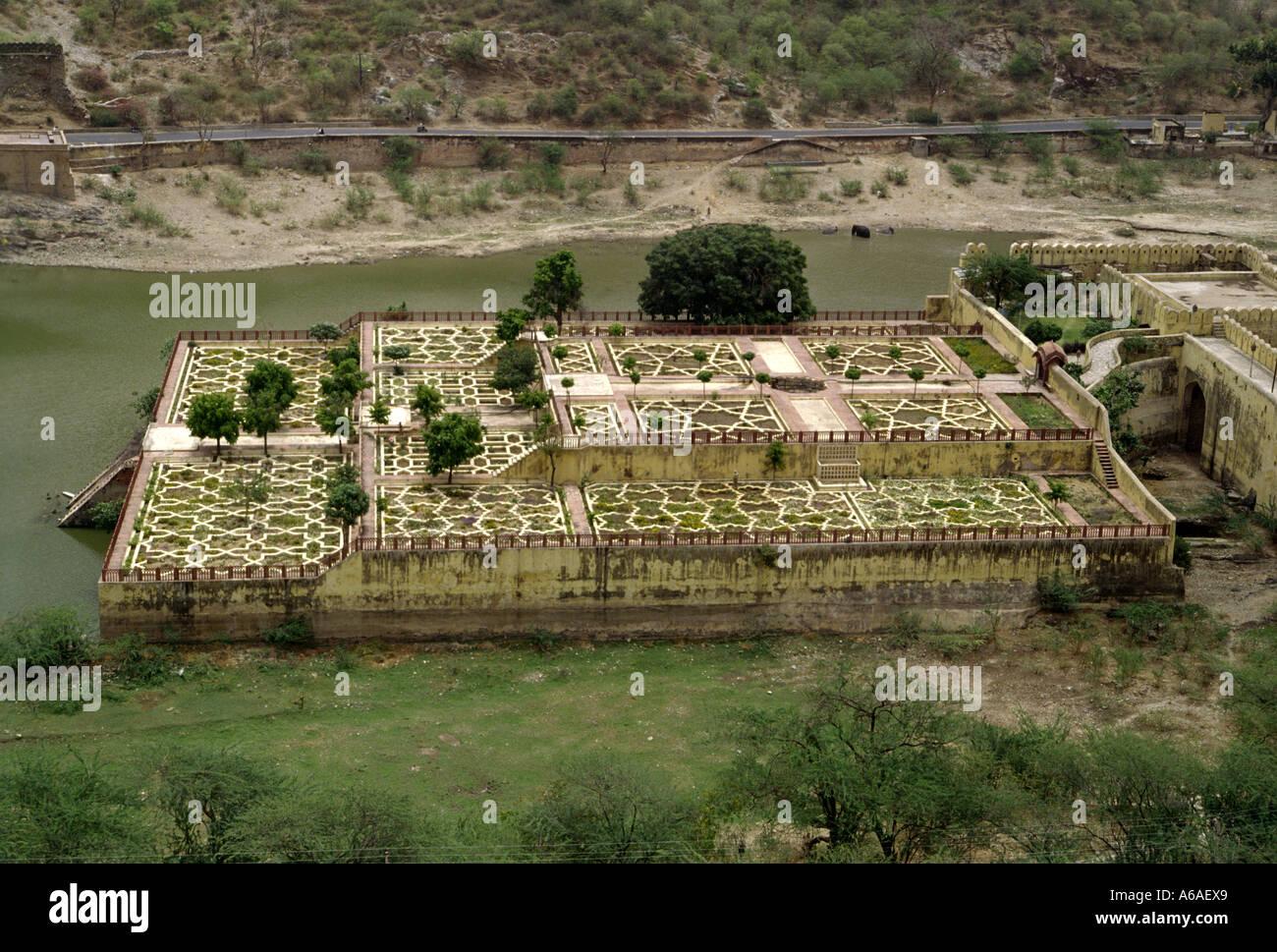 View of Kesar Kyari Bagh from Amber Fort, Jaipur, Rajasthan India - Stock Image