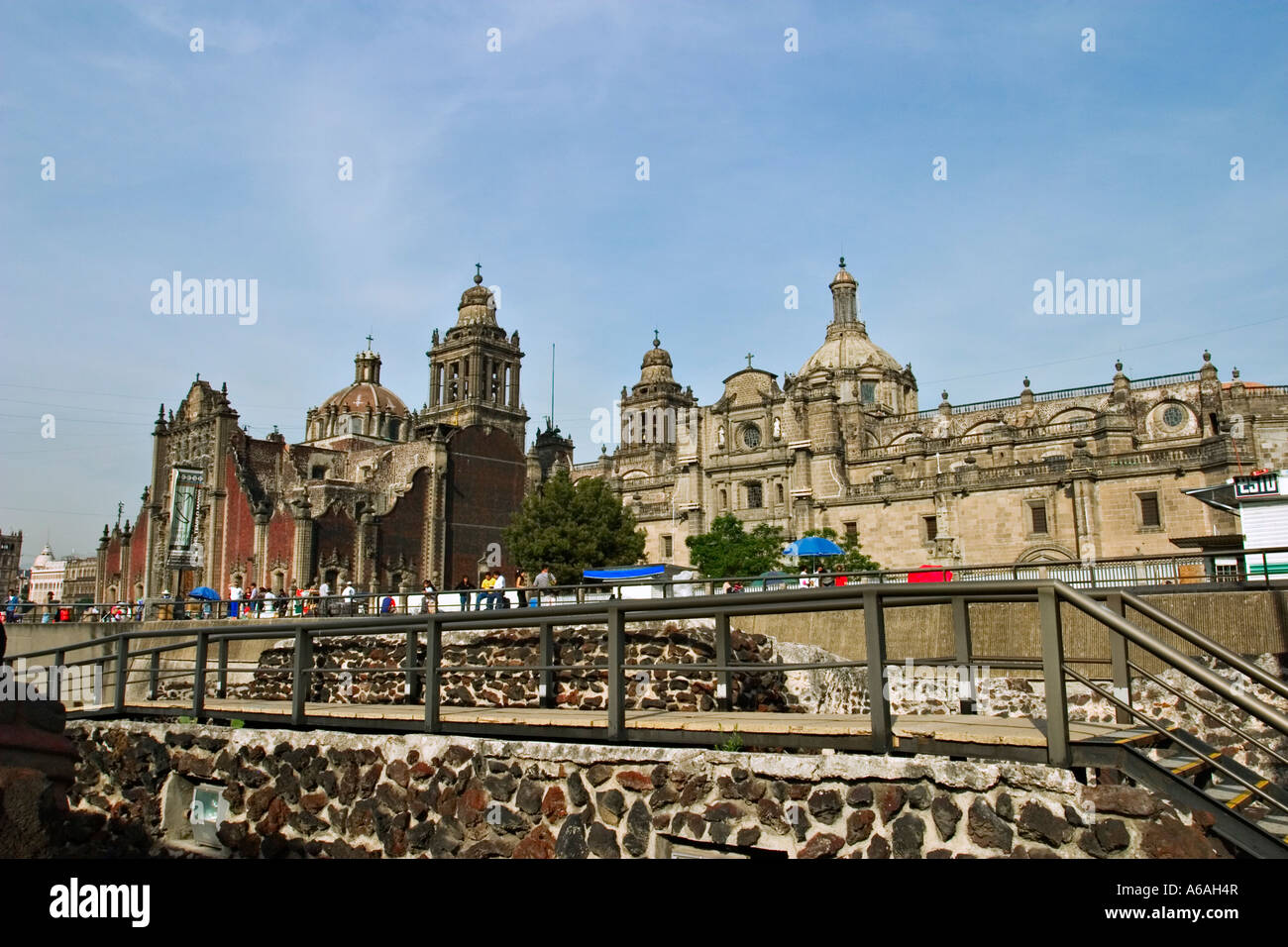 View of the Catedral Metropolitana de la Ascunsi≤n from Templo Mayor, Mexico City, Mexico - Stock Image