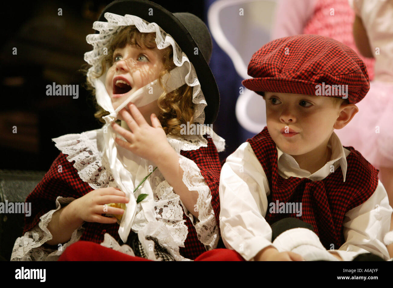 ee97b3b06 Two children dressed in traditional Welsh costume at the Eisteddfod  cultural festival in Bangor Wales -