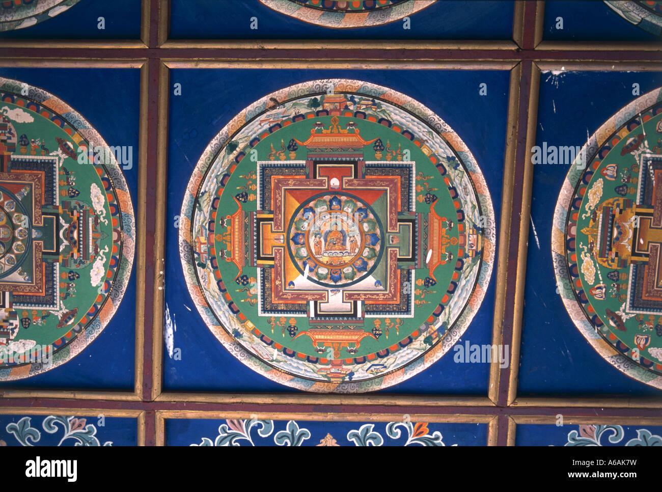 China, Tibet, Lhasa, intricately painted mandala symbolizing universe - Stock Image