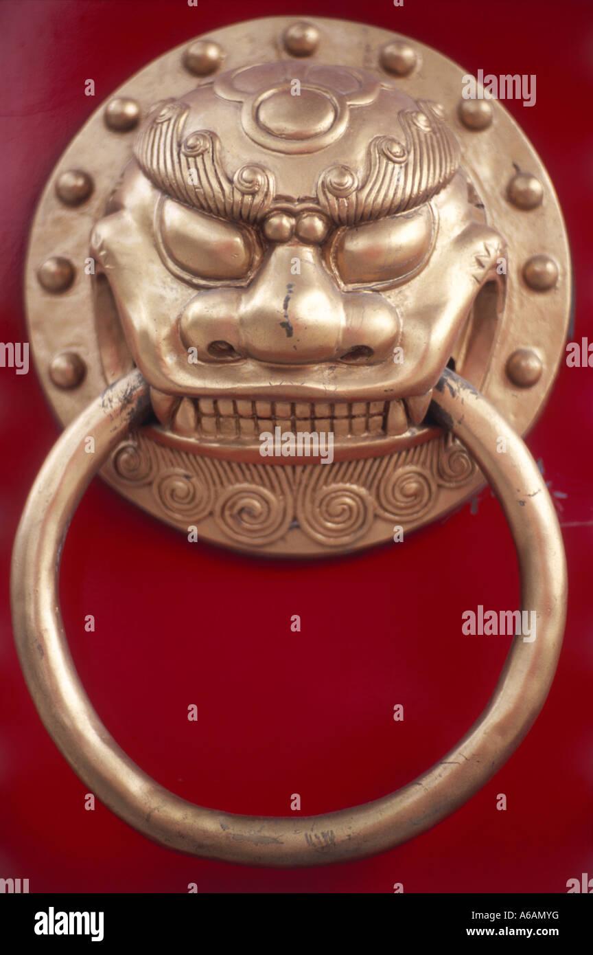 China, Jilin Province, Jilin, When Miao (Confucius Temple), decorative door handle - Stock Image