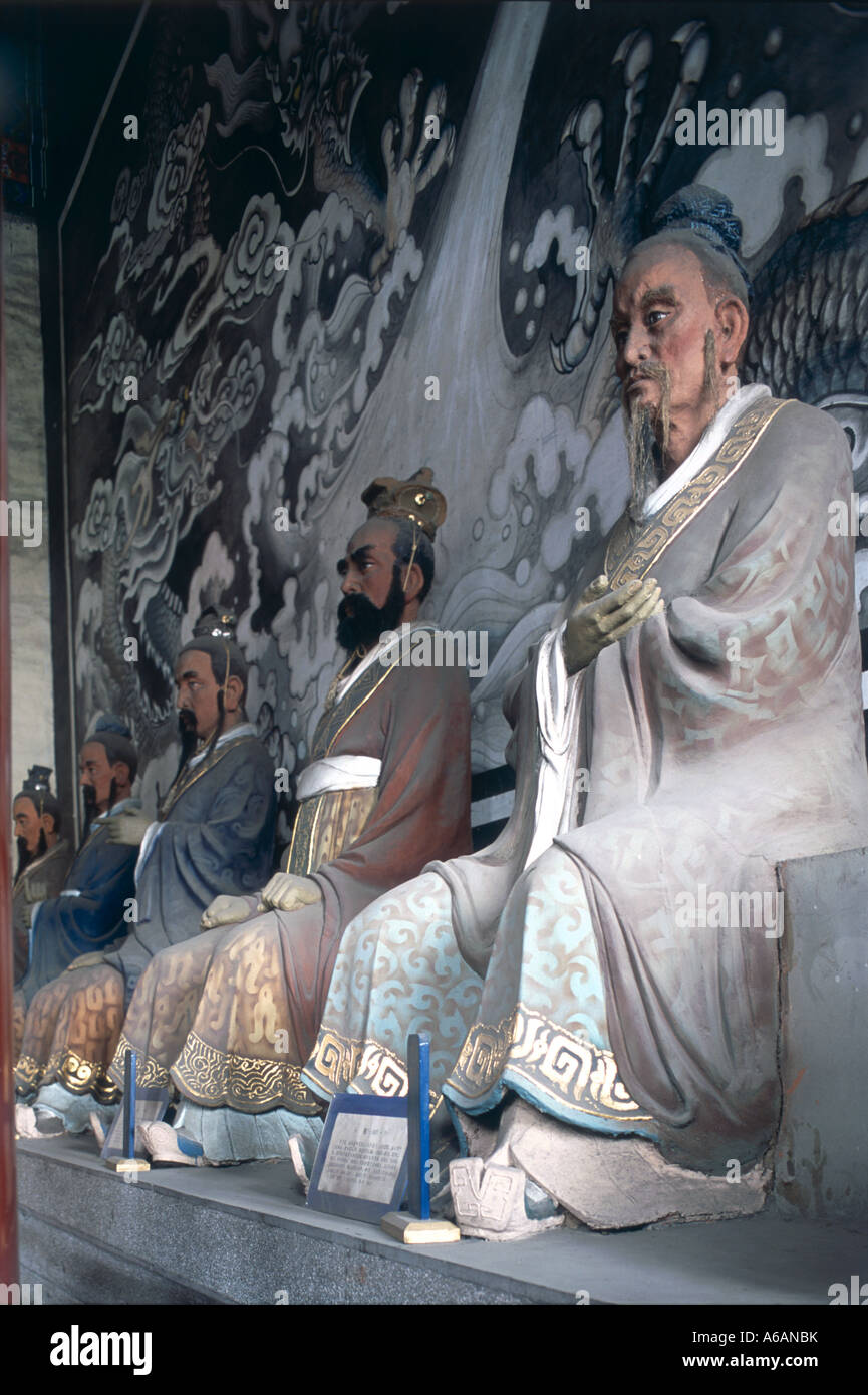 China, Jilin Province, Jilin, When Miao (Confucius Temple), statues at scholars' altar - Stock Image