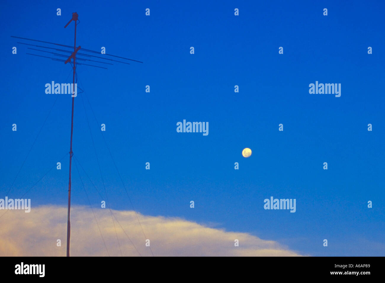 The Moon and The Aerial Stock Photo