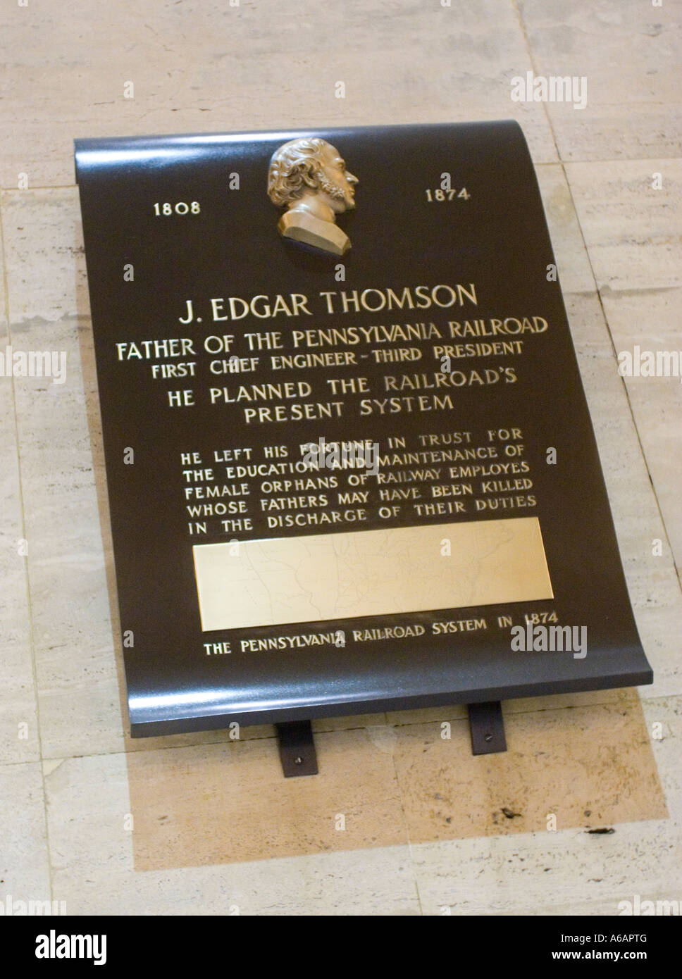 Memorial plaque to J Edger Thomson Chief engineer in 30th Street Station Philadelphia Pennsylvania PA USA Stock Photo