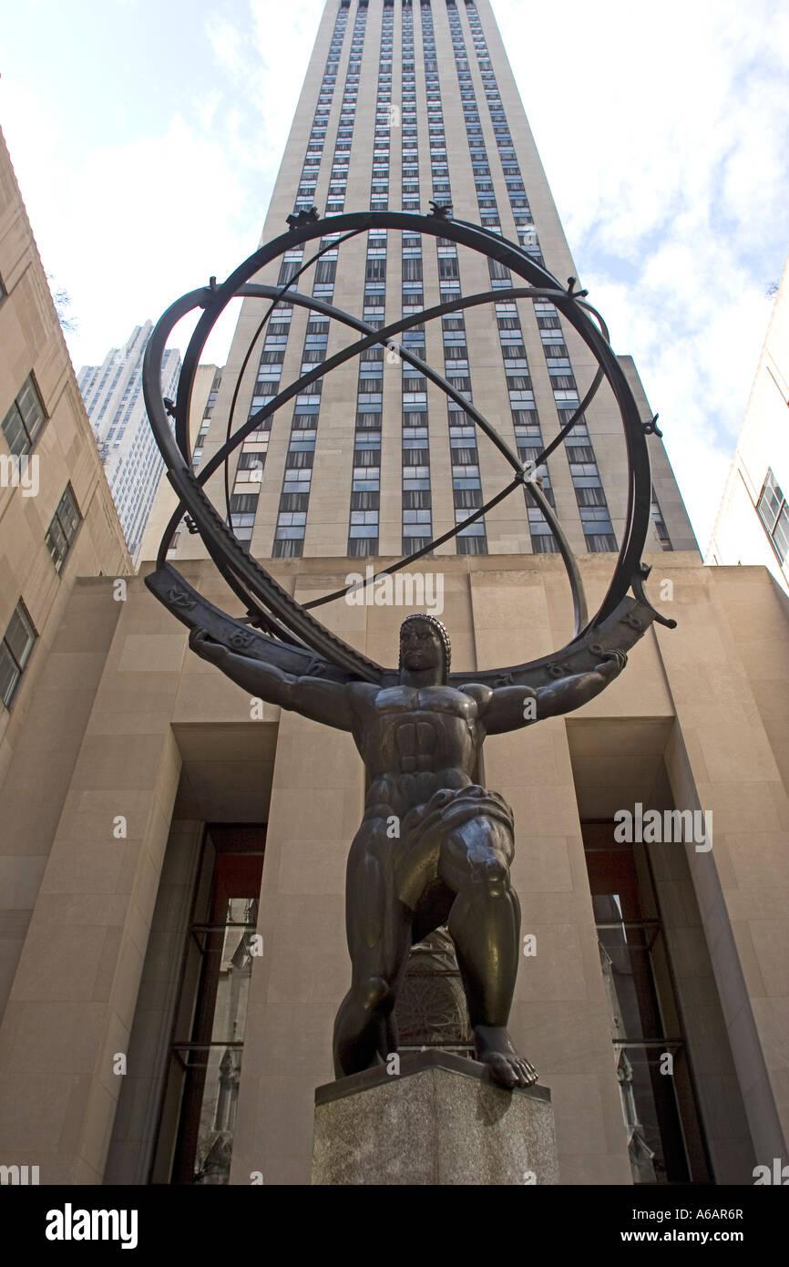 Statue outside Rockefeller Centre Center New York NYC USA - Stock Image