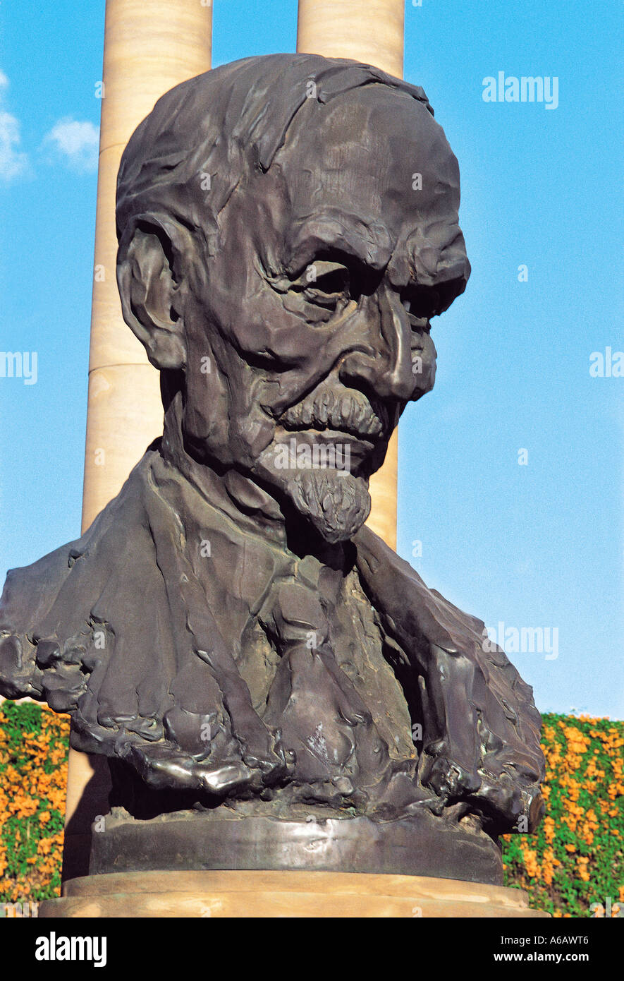 Jan Smuts bust at Union Buildings on Maintjies Kop Pretoria South Africa - Stock Image