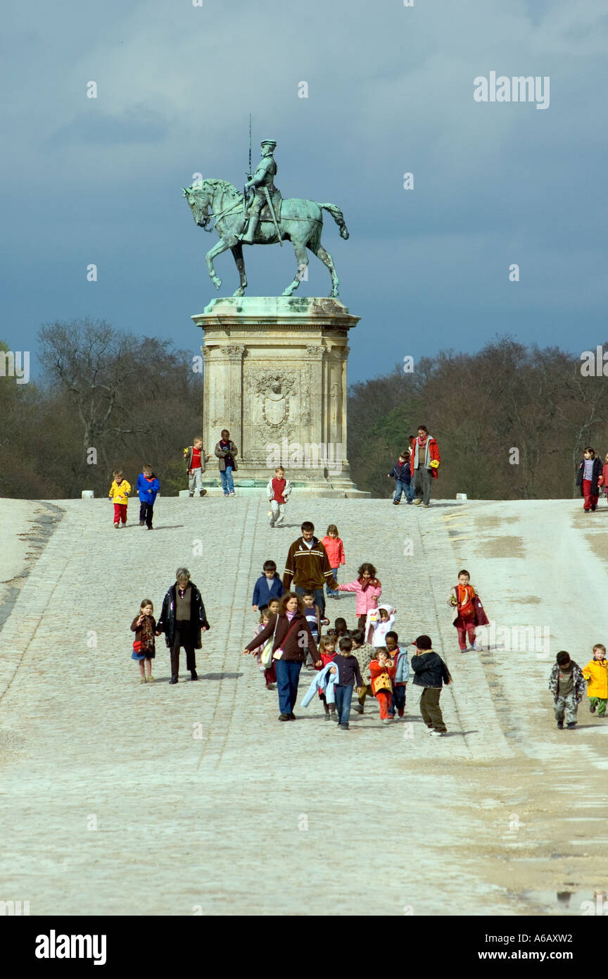 Equestrian statue of the Connetable Anne of Montmorency Chateau of Chantilly Chantilly France - Stock Image