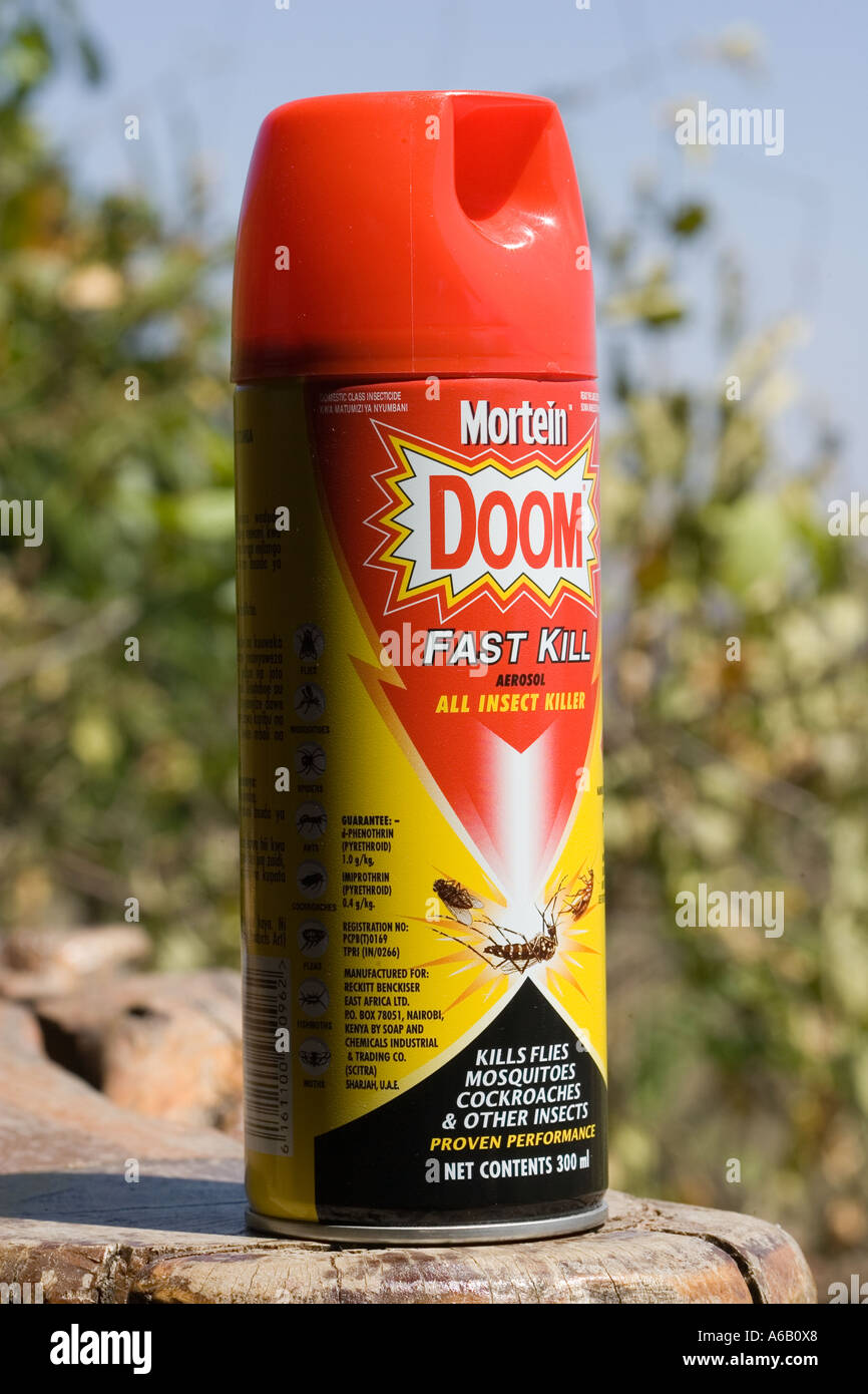 Aerosol Spray Can Of Doom Insect Killer Containing