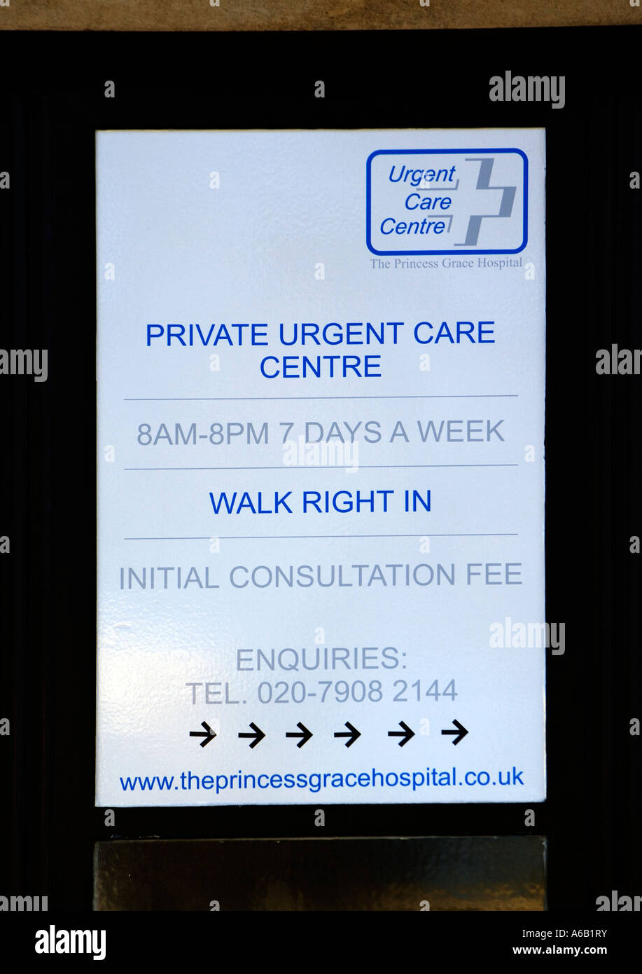 Sign promoting Private Urgent Care Centre - Marylebone Road, London - Stock Image