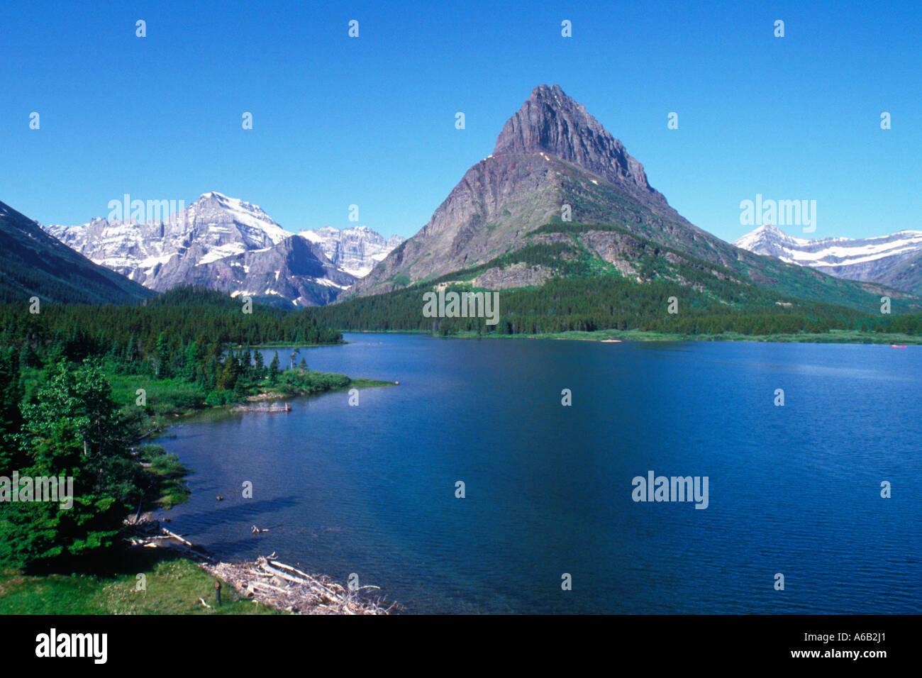 usa montana glacier national park mount grinnell swiftcurrent lake