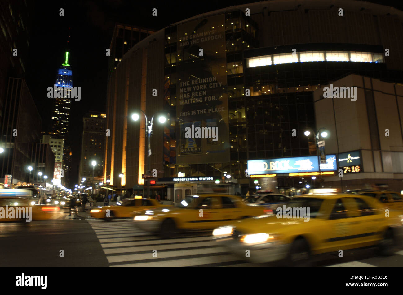 NY New York City Madison square Garden Empire State Building taxis ...